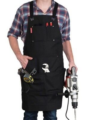 Waxed Canvas Work Apron Heavy Duty with Pockets (Black), Adjustable up to XXL
