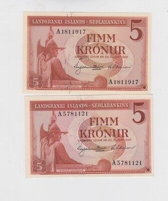 Iceland Paper Money 2 old notes uncirculated