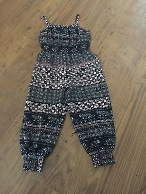 GIRLS DEBENHAMS BLUE, WHITE AND CORAL JUMPSUIT age 4 years IN VGC