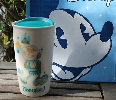Disney Parks Disneyland Starbucks It's A Small World Travel Tumbler Mug +Bag NEW