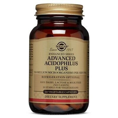 Solgar Advanced Acidophilus Plus 60 Vegetable Capsules FREE Shipping Made in USA