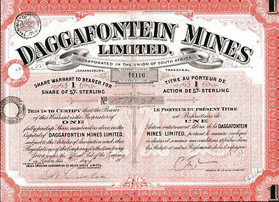 South Africa: DAGGAFONTEIN MINES Limited; one share