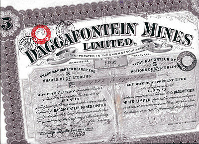 South Africa: DAGGAFONTEIN MINES Limited; five shares