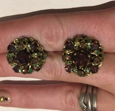 Vintage Crystal Screw On Earrings Purple Green Gold