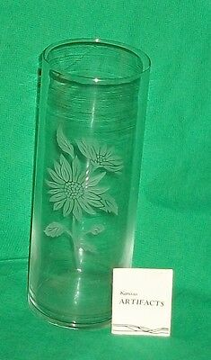 Kansas Artifact Ks Etched Glass Vase Prairie Sunflower State Flower Home Decor
