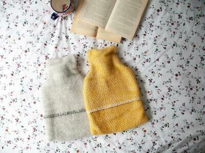 Hot Water Bottle with 100% pure new wool cover in yellow or grey