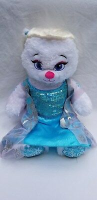 "Build A Bear Disney Elsa Frozen Plush White Cat 17"" with attached Braided Wig"