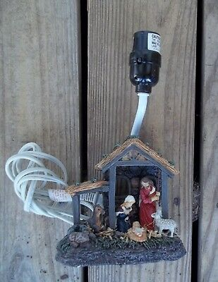 Nativity Scene Table Lamp Stable Holy Family Baby Jesus Animals Resin Works
