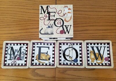 "MEOW ""Kitty Welcome"" Mini Cat Plates by Linda Spivey 4.5"" Set of 4 Penny Lane"