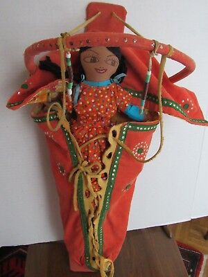 Native American Cradle Board (Modern) with Two Headed Doll c 1960s