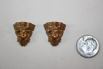 Miniature Dollhouse Pr Antique Gold Color Metal Cherub Head Wall Bracket Shelves