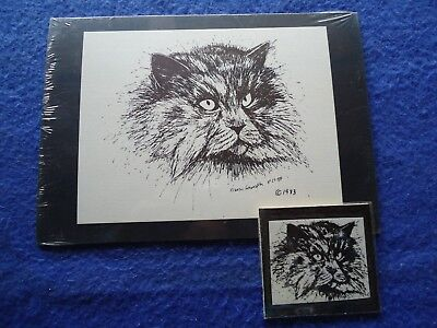 Persian Cat Small Print on 5x7 Black Mat Ready for Framing and Magnet New