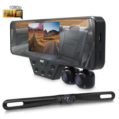 Pyle Multi Dash Cam Video Recording System - Rearview Backup & Driving HD Camera