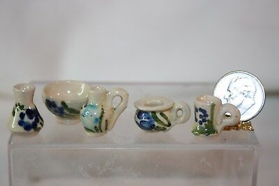 Miniature Dollhouse 5 Pc Vintage Handpainted Art Pottery Cup Vase Bowl 1:12 NR