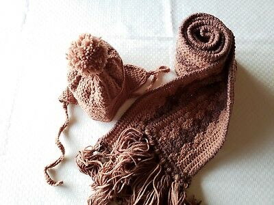 Child's Crochet hat and scarf set - Brown, acrylic yarn