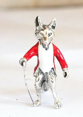 Unusual Novelty Silver and Enamel Fox Figurine In Hunting Jacket