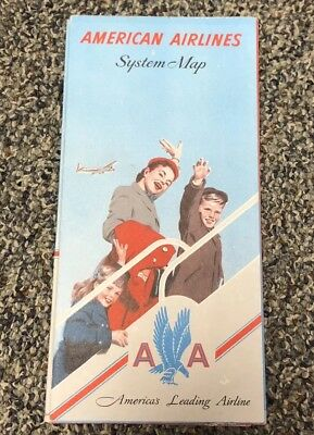 Vintage 1950's American Airlines System Map Pamphlet