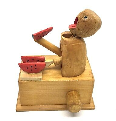 Kobe Toy Japan  -  Watermelon Eater - Ningyo Mechanical Doll 1930s Wood