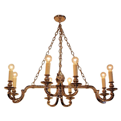 Modernized Neoclassical Nickel Plated 8 Arm Chandelier