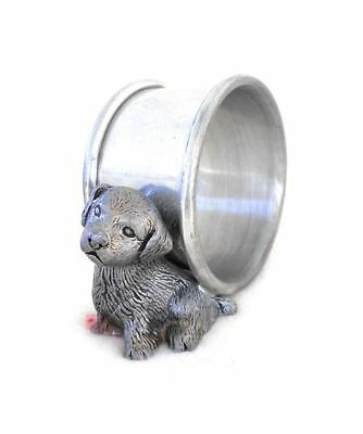 Unusual Old Marked Pewter Metal Napkin Ring Border Terrier Pup Dog Excellent