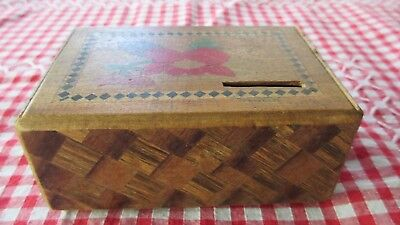 Vintage  Asian Wood Puzzel Trinket ,Money Box,inlay.different timbers,