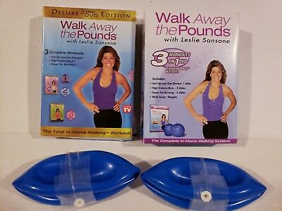 Leslie Sansone Walk Away the Pounds 3 DVD + Water Weights + FREE Fitness Bonuses