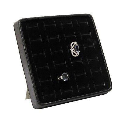 RING DISPLAY TRAY w/24 SLOTTED RING FOAM JEWELRY ORGANIZER BLACK RING STAND