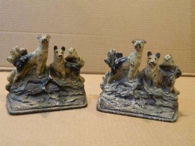Pair Cast Iron 2 Dogs on Each Bookends  Some Original Paint Antique