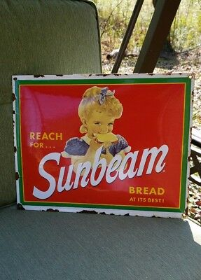 SUNBEAM BREAD porcelain sign vintage store bakery brand display