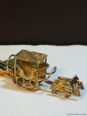 Sterling Charm Portugal Oxen Sled Madeira Islands Vintage Filigree Souvenir Old