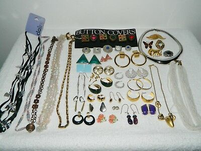 Lot of Vintage to Now Costume Jewelry Necklaces Clip On Earrings Brooch Pin #3