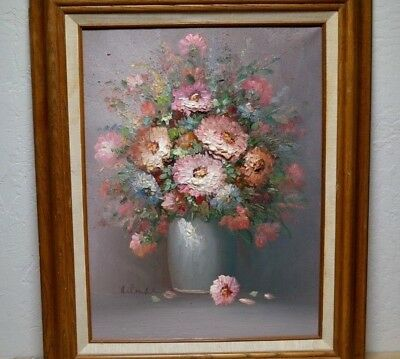 "Artist signed 3D Floral Still Life Oil Painting vtg Wood Frame 16""w x 20""t"