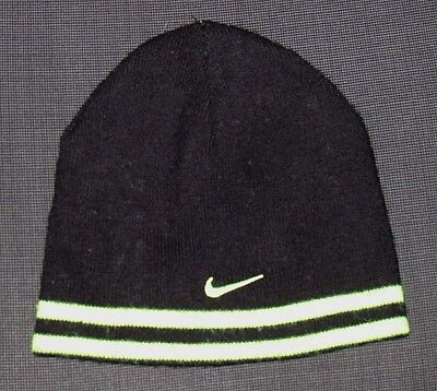 Nike Reversible Black Green Beanie Hat Girl's Boy's Youth One Size Os
