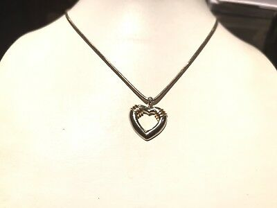 """Tiffany & Co. Genuine Ribbed Open Heart 14Kt & Sterling Silver 16"""" Necklace"""