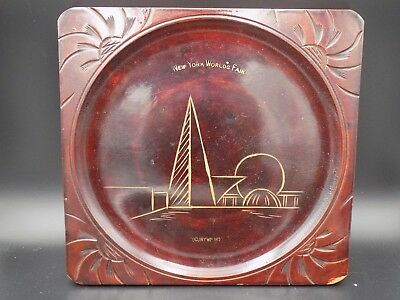 Vintage 1939 New York World's Fair Carved Wooden Lacquered Souvenir Tray