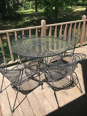 "5 Pc Wrought Iron Mesh Patio Garden Dining Set 42"" Table 4 Chairs Woodard Style"