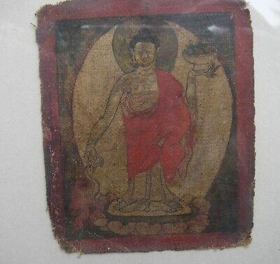 Early 17th C TIBETAN PAINTING on FABRIC-Standing Buddha w/Bowl-FRAMED-NR