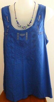 DKNY JEANS Royal Blue BLOUSE TUNIC Embroidered Cut Out; Scoop-Neck Sleeveless L