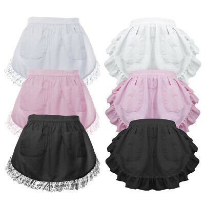 Vintage Half Apron Women Lace Waist Apron with Two Pockets Maid Costume