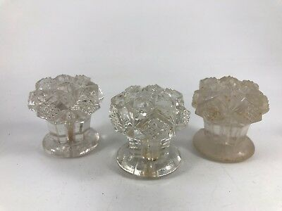 Set Of 3 Vintage Pressed Glass Large Cabinet Knobs Or Drawer Pulls