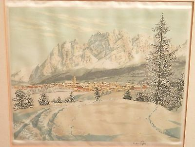OLD antique Listed Artist ETCHING vintage Fine Art Artwork Landscape signed