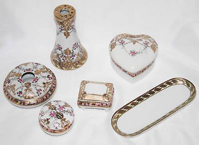 Nippon Reproduction 6 Pc  Dresser Set with Hatpin Holder, Hair Receiver  #1643