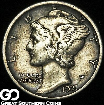 1921-D Mercury Dime, Avidly Pursued Choice XF++ LOW Mintage Key Date!