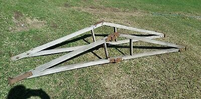 Antique Horse-Drawn Wagon Farm ROOF Rafters Wood FRAME Barn Hardware Rustic Vtg