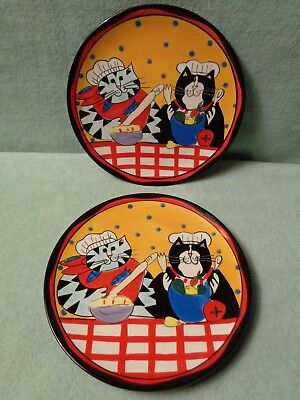 2 Catzilla 2002 Candace Reiter Collectable Plates Cats Cooking Chefs Felines