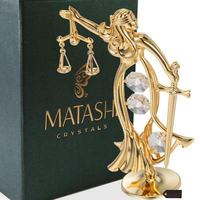24K Gold Plated Crystal Studded Lady Of Justice Ornament by Matashi