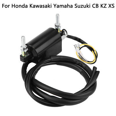 12V Dual Wire Ignition Coil Spark Cap for Honda Kawasaki Yamaha Suzuki CB KZ GS