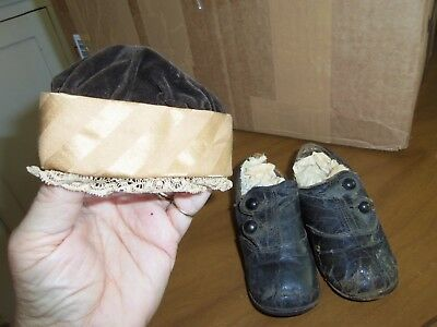 Antique Victorian  Button Leather Child's Shoes & Matching Hat!  So Sweet!