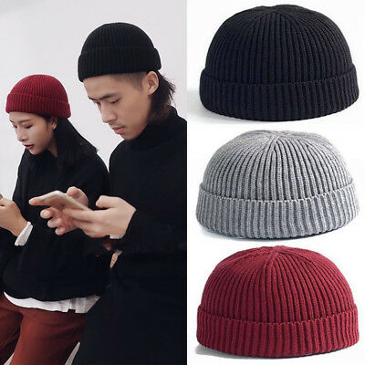 80a8a084b3a Men Women Beanie Knit Hat Cuff Brimless Ski Hip-Hop Warm Skullcap Sailor  Cap New