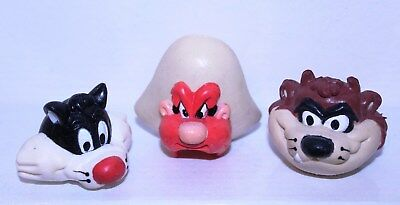 """Sylvester,Taz, Yosemite Sam"" Pencil Toppers Figures PVC W-B Looney Tunes"